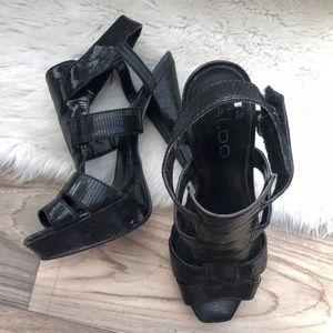 Aldo faux snake black leather sandals straps